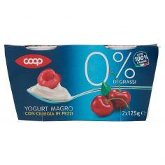 Coop-0% di Grassi Yogurt Magro con Ciliegia in Pezzi 2 x 125 g