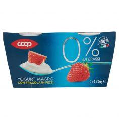 Coop-0% di Grassi Yogurt Magro con Fragola in Pezzi 2 x 125 g