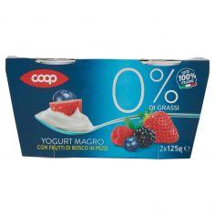 Coop-0% di Grassi Yogurt Magro con Frutti di Bosco in Pezzi 2 x 125 g
