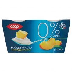 Coop-0% di Grassi Yogurt Magro con Pesca in Pezzi 2 x 125 g