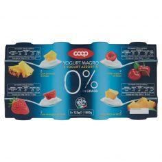 Coop-0% di Grassi Yogurt Magro Yogurt Assortiti Ananas, Ciliegia, Fragola, Pesca in Pezzi 8 x 125 g