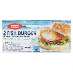 Coop-2 Fish Burger di filetti di merluzzo d'Alaska Impanati, Prefritti e Surgelati 210 g