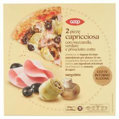 Coop-2 pizze capricciosa con mozzarella, verdure e prosciutto cotto surgelate 2 x 380 g