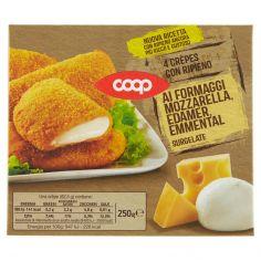 Coop-4 Crêpes con Ripieno ai Formaggi Mozzarella, Edamer, Emmental Surgelate 4 x 62,5 g
