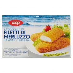 Coop-4 Croccanti di Filetti di Merluzzo Impanati e Surgelati 4 x 100 g