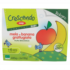 Coop-Baby mela e banana grattugiata frutta Biologica 4 x 100 g