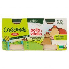Coop-Baby pollo e vitello omogeneizzato Biologico con carne 2 x 80 g