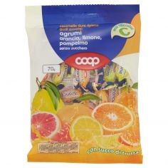 Coop-caramelle dure ripiene gusti assortiti agrumi arancia, limone, pompelmo senza zucchero 70 g
