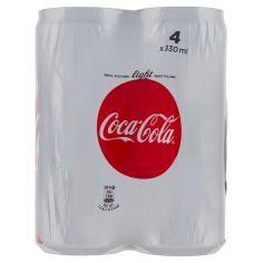 LIGHT-Coca-Cola Light senza Zuccheri senza Calorie lattina 330 ml Confezione da 4