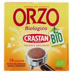 CRASTAN-Crastan Bio Orzo Biologico Tostato Macinato Cialde Filtro per Espresso, Moka e Infusione 16 x 6 g