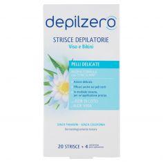 DEPILZERO-depilzero Strisce Depilatorie Viso e Bikini 20 Strisce + 4 salviettine