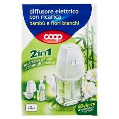 Coop-diffusore elettrico con ricarica bambù e fiori bianchi 2in1 20 ml