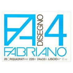 Fabriano Disegno FA/4 blocco 20 fogli riquadrati 24x33 cm liscio