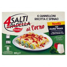 4 SALTI AL FORNO-Findus 4 Salti in Padella al Forno Cannelloni Ricotta e Spinaci 600 g