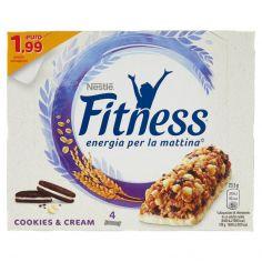 NESTLE'-FITNESS COOKIES&CREAM Barretta di cereali integrali, biscotti al cacao e cioccolato bianco 4 pezzi