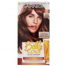 BELLECOLOR-Garnier Belle Color Colore Luminoso, Tinta per Capelli Bianchi 20 Castano Chiaro Naturale
