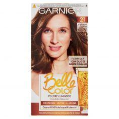 BELLECOLOR-Garnier Belle Color Colore Luminoso, Tinta per Capelli Bianchi 21 Castano Chiaro Dorato Naturale