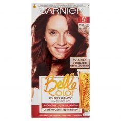 BELLECOLOR-Garnier Belle Color Colore Luminoso, Tinta per Capelli Bianchi 51 Mogano Scuro Naturale