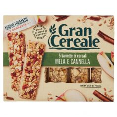 GRANCEREALE-Gran Cereale 5 barrette di cereali Mela e Cannella 135g