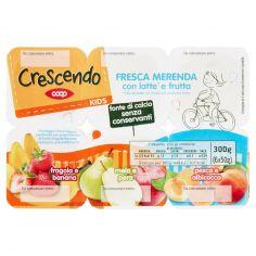 Coop-Kids Fresca Merenda con latte* e frutta fragola e banana - mela e pera - pesca e albicocca 6 x 50 g