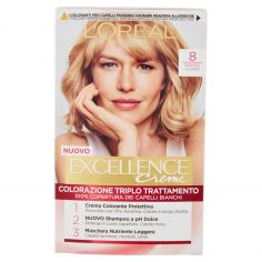 EXCELLENCE-L'Oréal Paris Excellence, Crema colorante triplo trattamento avanzato, 8 Biondo Chiaro
