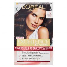 EXCELLENCE-L'Oréal Paris Excellence Crema colorante triplo trattamento avanzato, 3 Castano Scuro