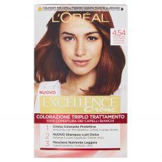 EXCELLENCE-L'Oréal Paris Excellence Crema colorante triplo trattamento avanzato, 4.54 Castano Mogano Ramato