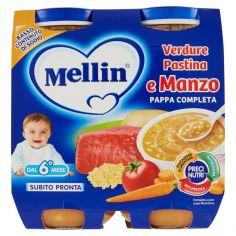 MELLIN-Mellin Verdure pastina e manzo pappa completa 2 x 250 g