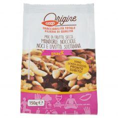 Coop-Mix di Frutta Secca Mandorle, Nocciole, Noci e Uvetta Sultanina 150 g