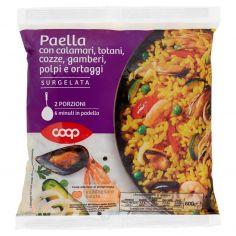 Coop-Paella con calamari, totani, cozze, gamberi, polpi e ortaggi Surgelata 600 g