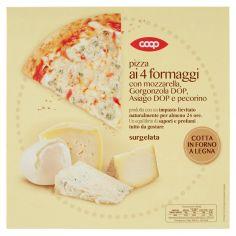 Coop-pizza ai 4 formaggi con mozzarella, Gorgonzola DOP, Asiago DOP e pecorino surgelata 340 g