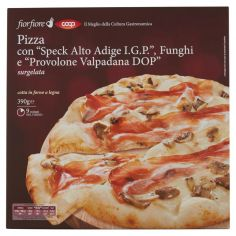 """Coop-Pizza con """"Speck Alto Adige I.G.P."""", Funghi e """"Provolone Valpadana DOP"""" surgelata 390 g"""