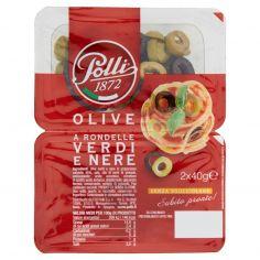 POLLI-Polli Olive a Rondelle Verdi e Nere 2 x 40 g