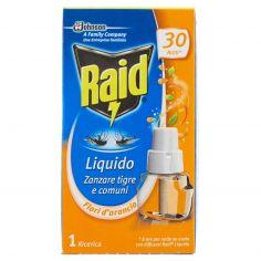 RAID-Raid Liquido Zanzare tigre e comuni Fiori d'arancio 1 Ricarica 21 ml