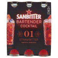 BARTENDER-SANBITTÈR BARTENDER COCKTAIL STRAWBITTER, Aperitivo Analcolico 14cl x 3