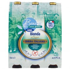 Coop-senza glutine Bionda Lager Birra Italiana 3 x 33 cl