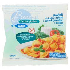 Coop-senza glutine Ravioli di ricotta e spinaci in salsa di pomodoro e basilico Surgelati 300 g