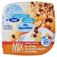 Coop-senza lattosio Mix Cremoso Yogurt Intero fior di latte con cereali e biscotti al cioccolato 150 g