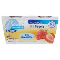 Coop-senza lattosio Yogurt Magro alla fragola alta digeribilità 2 x 125 g