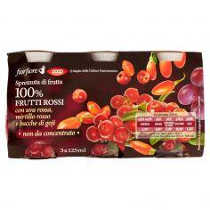 Coop-Spremuta di frutta 100% Frutti Rossi con uva rossa, mirtillo rosso e bacche di goji 3 x 125 ml