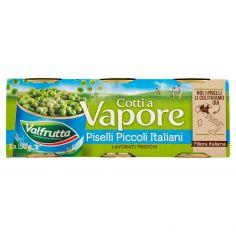VALFRUTTA-Valfrutta Cotti a Vapore Piselli Piccoli Italiani 3 x 150 g