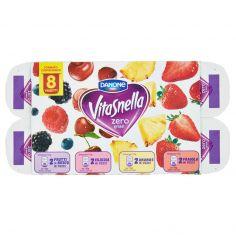 VITASNELLA-Vitasnella zero grassi 2 Frutti di Bosco - 2 Ciliegia - 2 Ananas - 2 Fragola in Pezzi 8 x 125 g