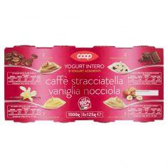 Coop-Yogurt Intero Yogurt Assortiti al Caffè, Stracciatella, Vaniglia, Nocciola 8 x 125 g