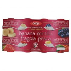Coop-Yogurt Intero Yogurt Assortiti Banana, Mirtillo, Fragola, Pesca in Pezzi 8 x 125 g