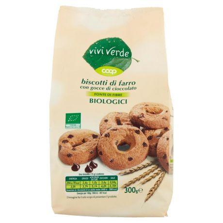 Coop,biscotti di farro con gocce di cioccolato Biologici 300 g