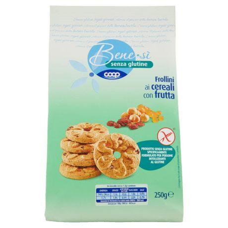 Coop,senza glutine Frollini ai cereali con frutta 250 g